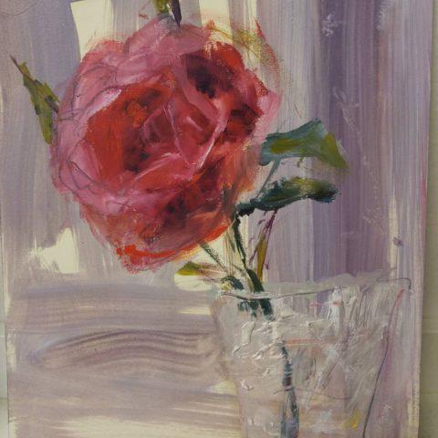 Teresa Cami pintura rosa en jarron