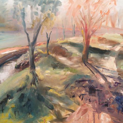 Teresa Cami pintura rapida obra parque natural en Manresa